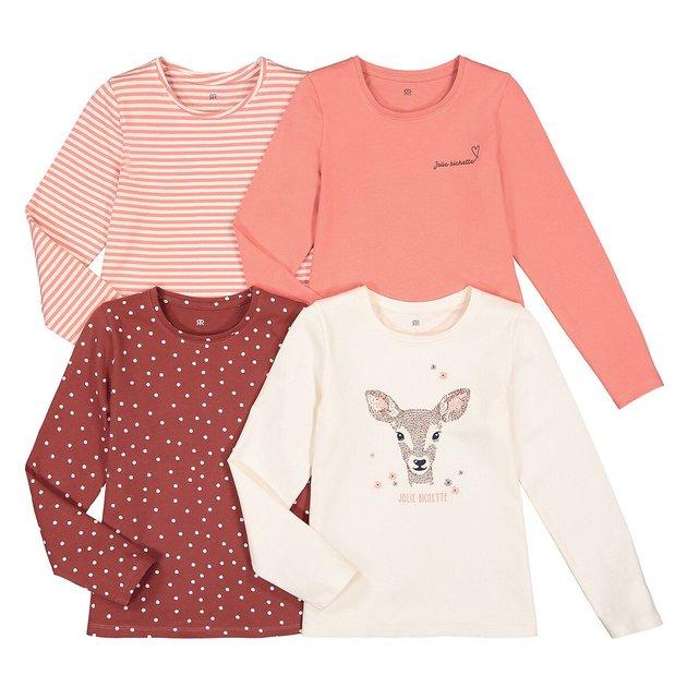 Σετ 4 μακρυμάνικες μπλούζες από οργανικό βαμβάκι, 3 - 12 ετών