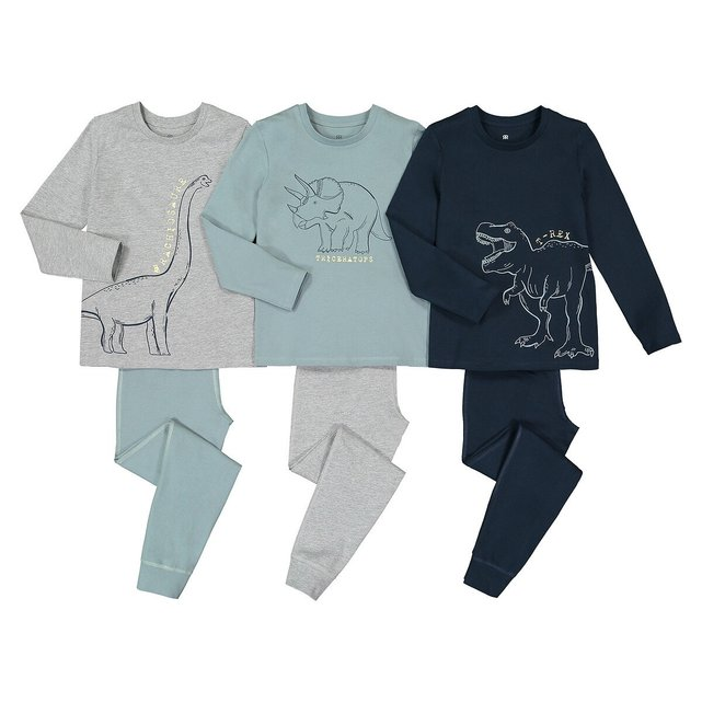 Σετ 3 πιτζάμες από οργανικό βαμβάκι, 3-14 ετών