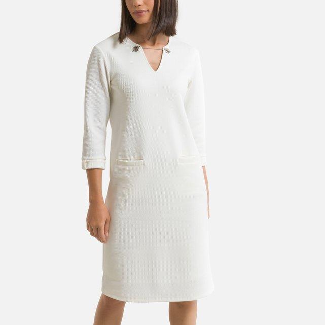Μίντι ίσιο φόρεμα με ανάγλυφο σχέδιο ύφανσης