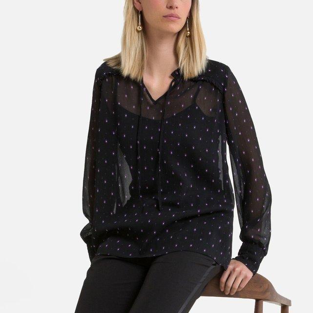Μακρυμάνικη μπλούζα με V και γεωμετρικό μοτίβο