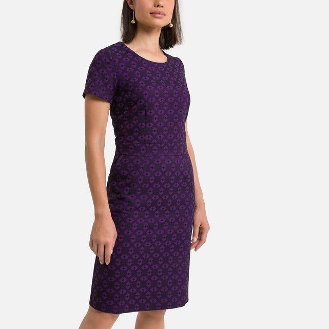 Κοντομάνικο μίντι ζακάρ φόρεμα σε ίσια γραμμή
