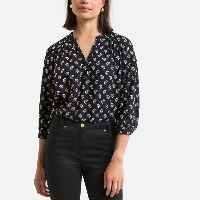 Φλοράλ μπλούζα με μανίκια 3 4