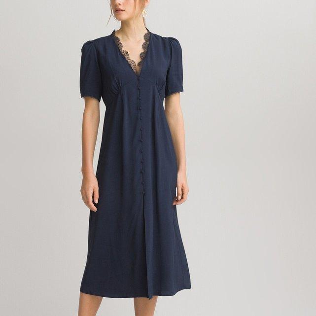 Μακρύ κοντομάνικο φόρεμα με V