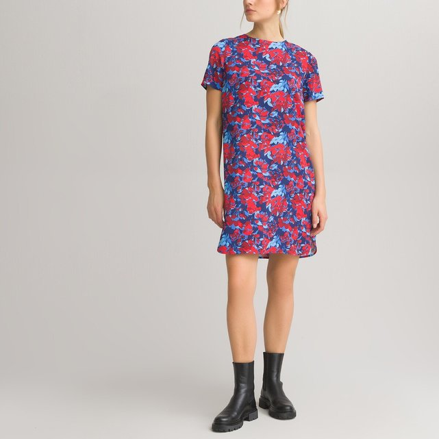 Κοντομάνικο ριχτό φόρεμα με στρογγυλή λαιμόκοψη και εμπριμέ μοτίβο