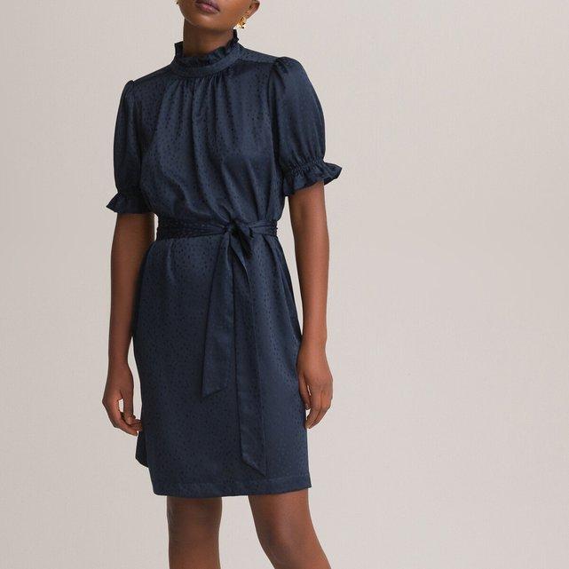 Κοντό φόρεμα με όρθιο λαιμό και βολάν
