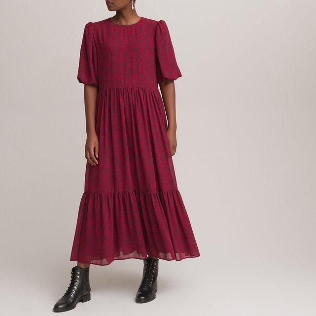 Μακρύ κοντομάνικο φόρεμα με βολάν και στρογγυλή λαιμόκοψη