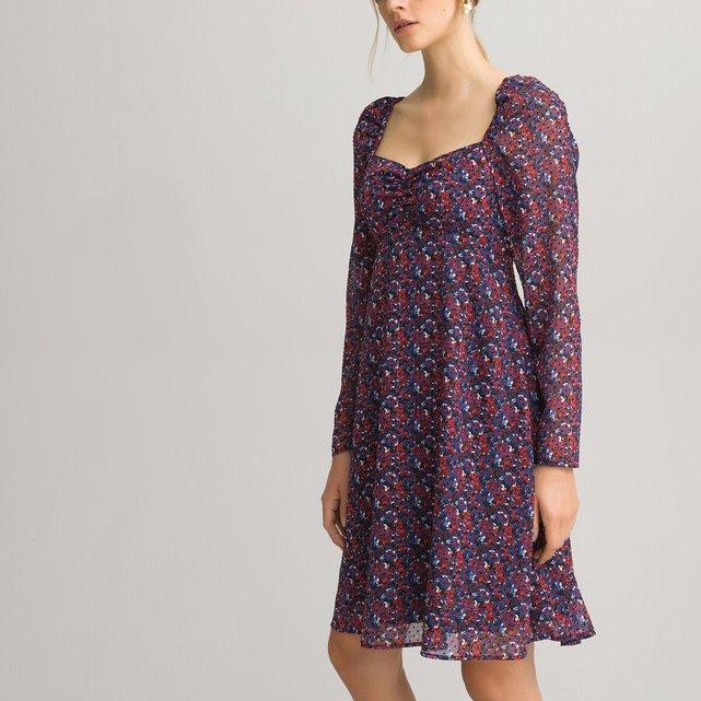 Μακρυμάνικο εμπριμέ φόρεμα με V