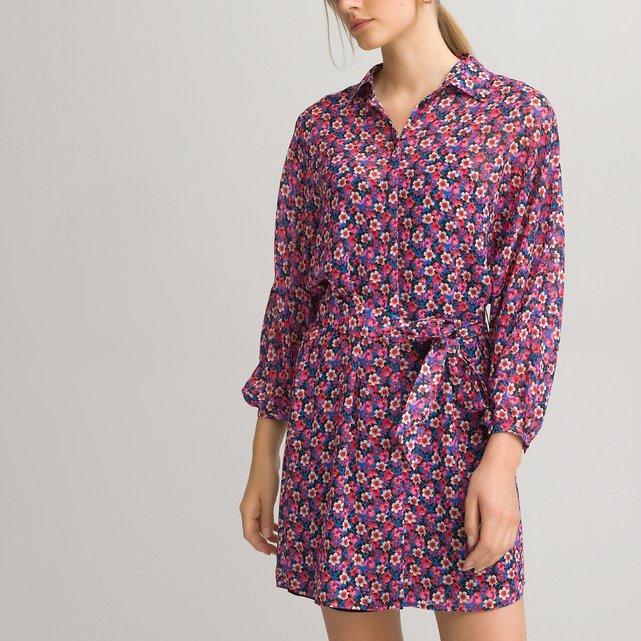Κοντό σεμιζιέ φόρεμα με μακριά μανίκια και εμπριμέ μοτίβο