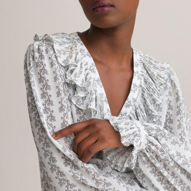 Μακρύ εμπριμέ φόρεμα με V λαιμόκοψη