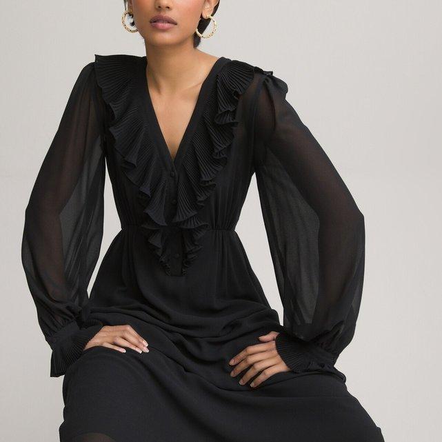 Μακρυμάνικο φόρεμα με V λαιμόκοψη