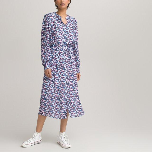 Μακρύ εμπριμέ φόρεμα με μακριά μανίκια