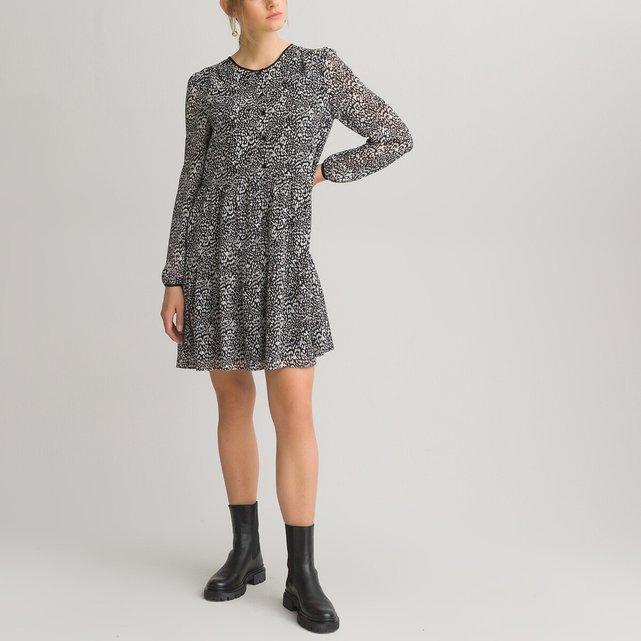 Μακρυμάνικο κοντό φόρεμα με εμπριμέ μοτίβο