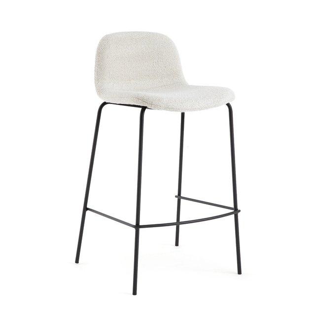 Καρέκλα μπαρ με μπουκλέ ταπετσαρία Υ75 εκ., Tibby