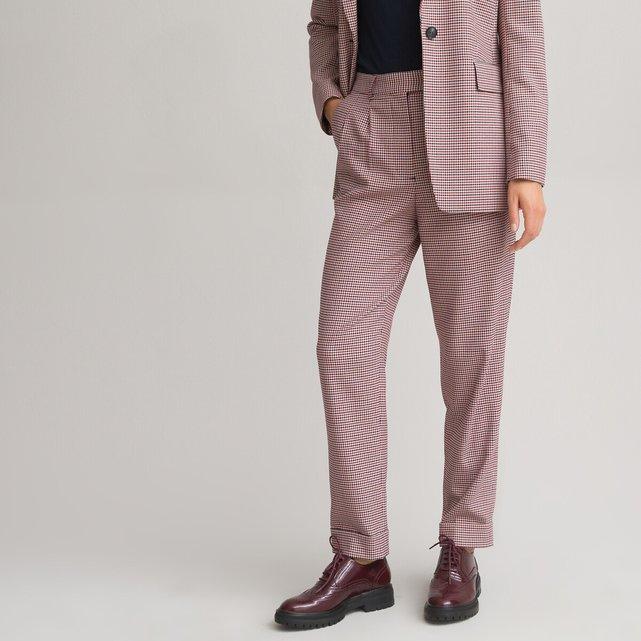 Σιγκαρέτ παντελόνι με πένσες και εμπριμέ πιε-ντε-πουλ