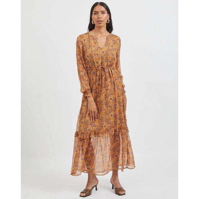 Μακρύ εμπριμέ φόρεμα με δετή ζώνη