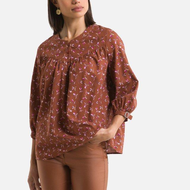 Φλοράλ μπλούζα με μανίκια 3|4