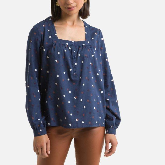 Μπλούζα με τετράγωνη λαιμόκοψη και πουά μοτίβο
