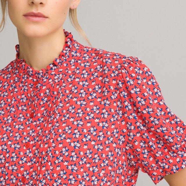 Κοντομάνικο πουκάμισο με όρθιο λαιμό και φλοράλ μοτίβο