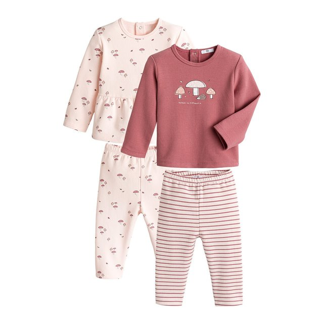 Σετ 2 φανελένιες πιτζάμες από οργανικό βαμβάκι, 6 μηνών - 4 ετών