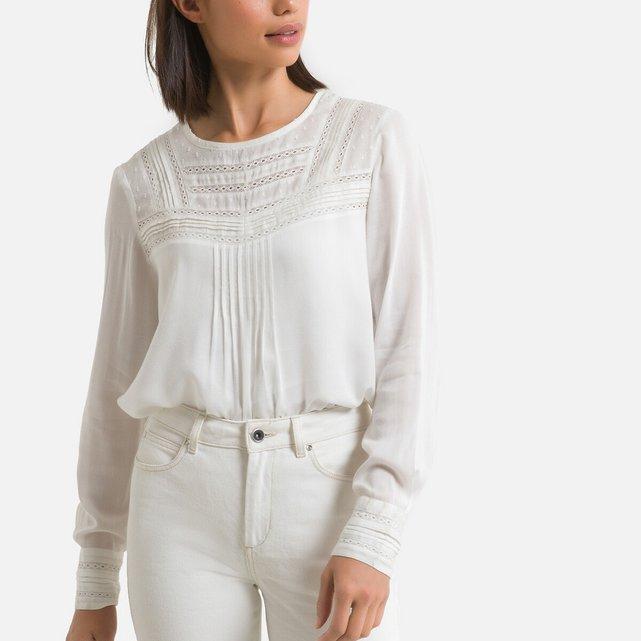 Μπλούζα με στρογγυλή λαιμόκοψη και δαντέλα