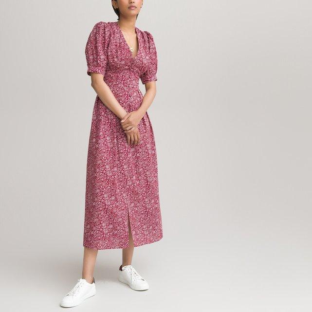 Μάξι εμπριμέ φόρεμα με V και κοντά μανίκια