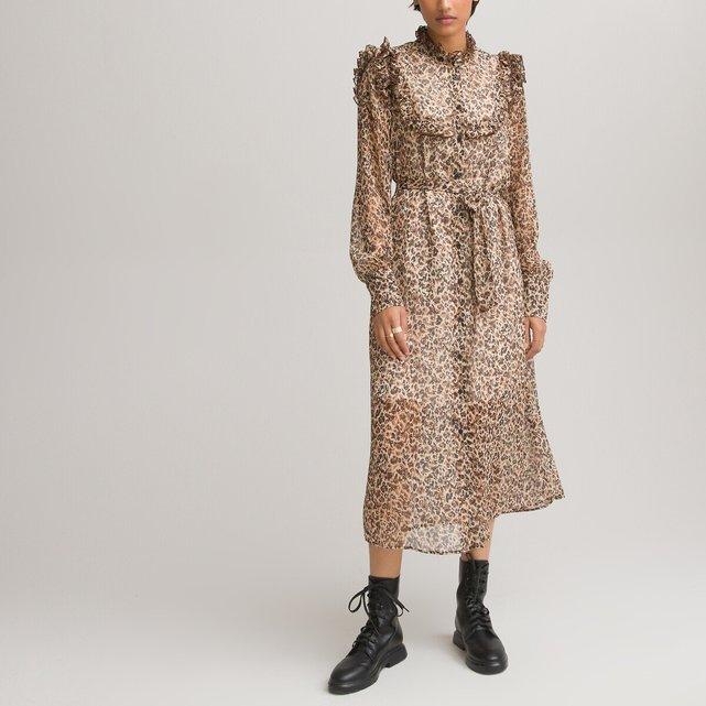 Μακρύ σεμιζιέ φόρεμα σε εβαζέ γραμμή με βολάν