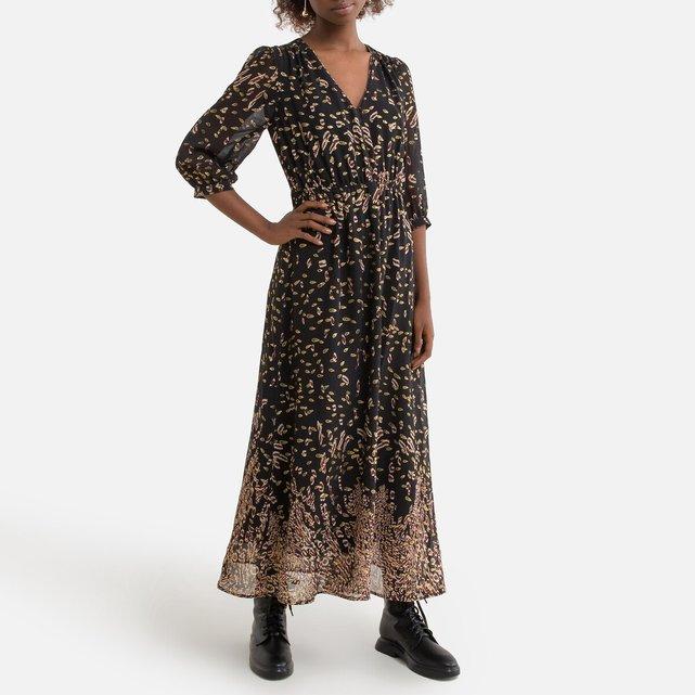 Μακρύ φόρεμα με μανίκια 3|4 και V