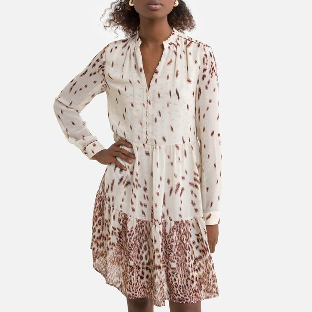 Κοντό εβαζέ φόρεμα με μακριά μανίκια