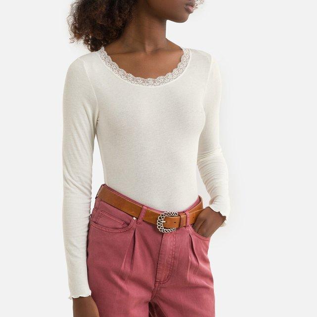 Μακρυμάνικη μπλούζα με στρογγυλή λαιμόκοψη και δαντέλα