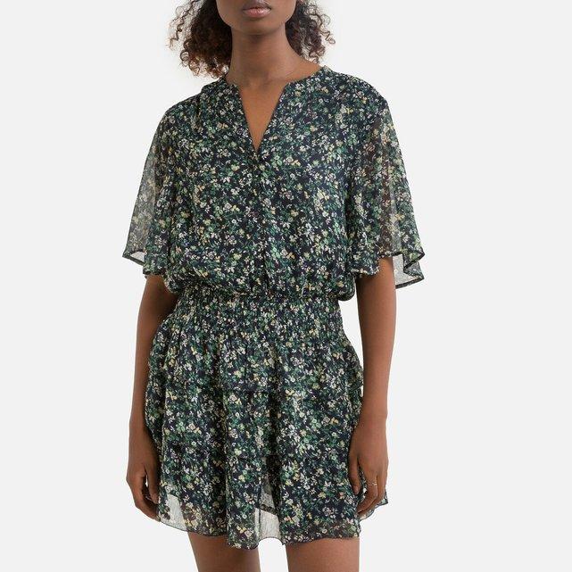 Κοντομάνικο φόρεμα με φλοράλ μοτίβο