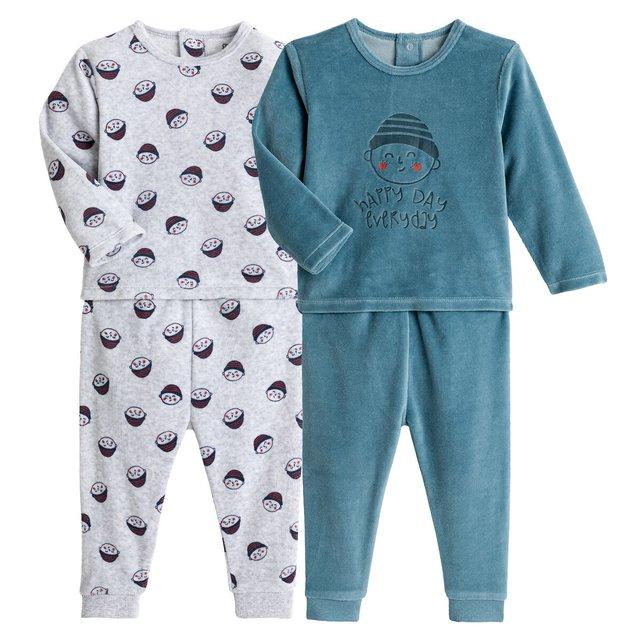 Σετ 2 βελουτέ πιτζάμες, 3 μηνών - 4 ετών