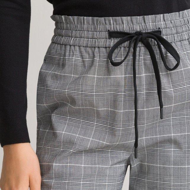 Καρό παντελόνι πρενς-ντε-γκαλ με λάστιχο στη μέση
