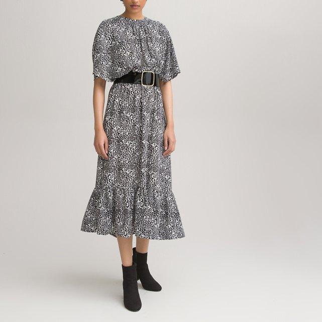Μακρύ φόρεμα με animal print