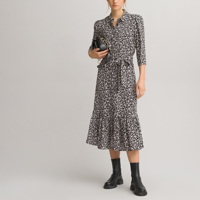 Μακρύ σεμιζιέ φόρεμα με μανίκια 3 4 και εμπριμέ μοτίβο