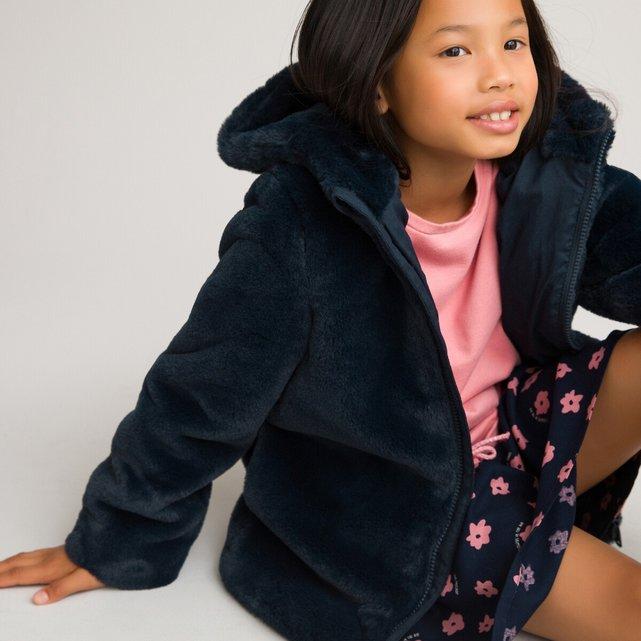 Παλτό με κουκούλα από συνθετική γούνα, 3-12 ετών