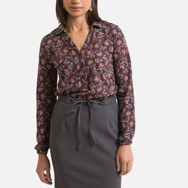 Μακρυμάνικη μπλούζα πόλο με εμπριμέ μοτίβο