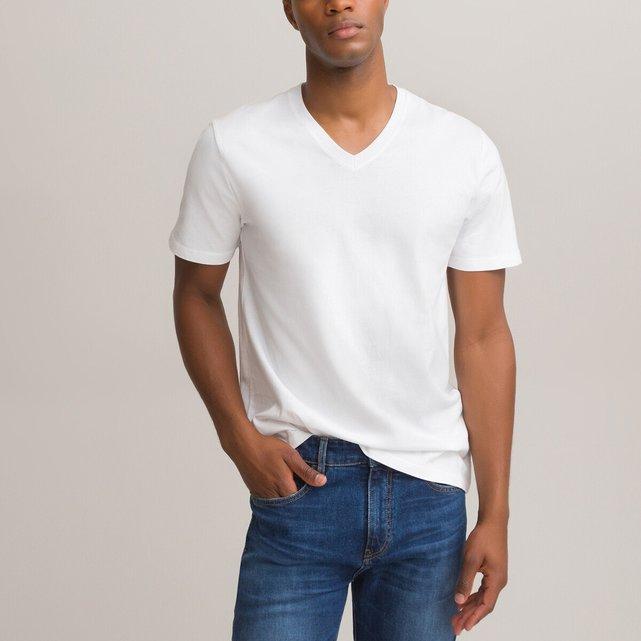Κοντομάνικη μπλούζα με V από οργανικό βαμβάκι