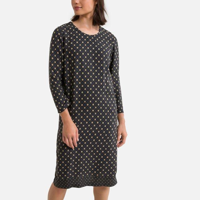 Eμπριμέ μίντι φόρεμα σε ίσια γραμμή