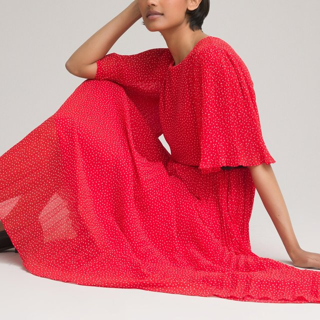 Κοντομάνικο εμπριμέ φόρεμα με στρογγυλή λαιμόκοψη