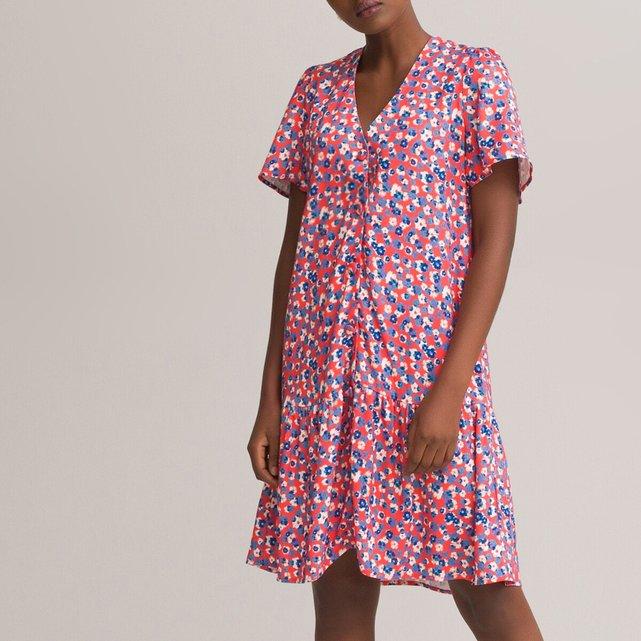 Κοντό φόρεμα με κουμπιά και βολάν