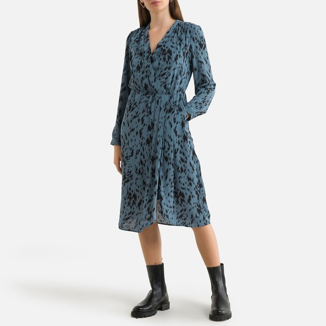 Μακρυμάνικο μίντι εμπριμέ φόρεμα με V