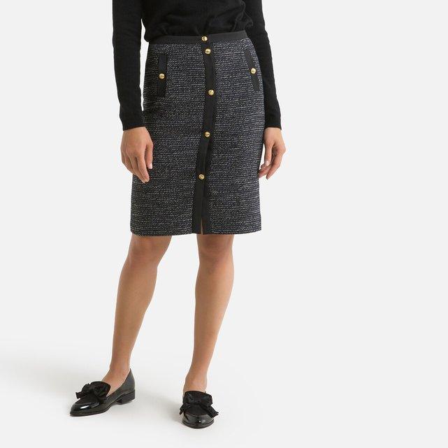 Ίσια μίντι φούστα με μοτίβο πιε-ντε-πουλ