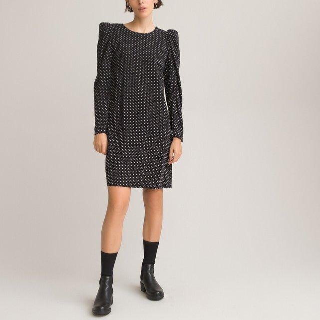 Κοντό ίσια φόρεμα με πουά μοτίβο