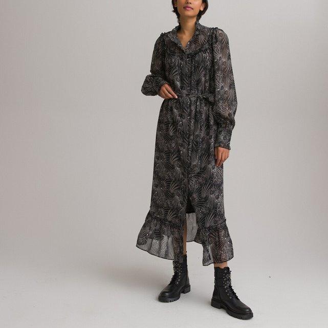 Μακρύ φόρεμα με όρθιο λαιμό