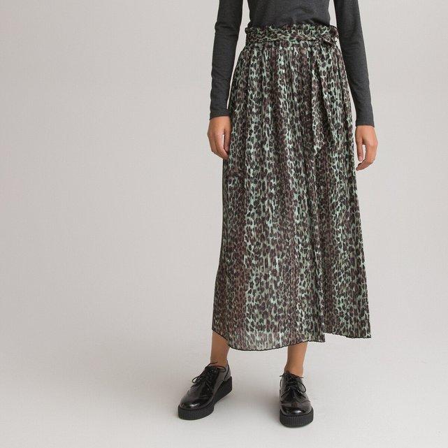 Μακριά πλισέ φούστα με animal print