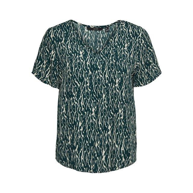 Κοντομάνικη εμπριμέ μπλούζα
