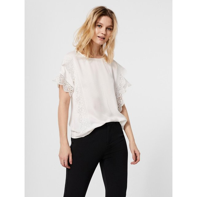 Κοντομάνικη μπλούζα με κέντημα