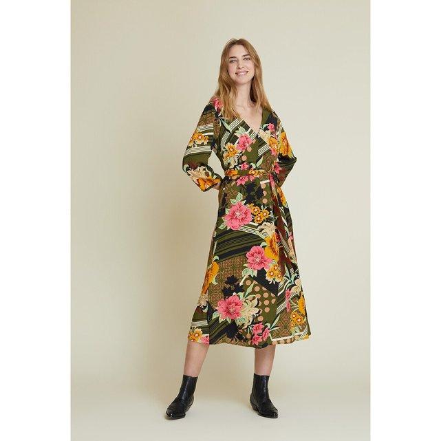 Μίντι φόρεμα με μανίκια 3|4 και φλοράλ print