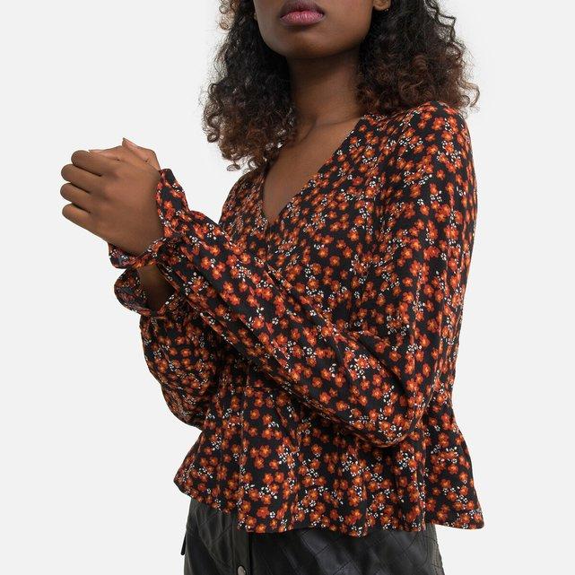 Φλοράλ μπλούζα με V λαιμόκοψη