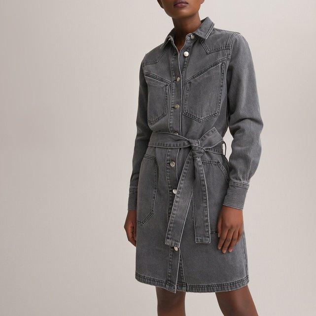 Τζιν σεμιζιέ φόρεμα με ζώνη